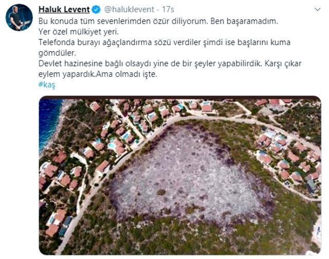 Haluk Levent, yanarak kül olan bölgeyi ağaçlandırma sözünü tutamayınca özür diledi