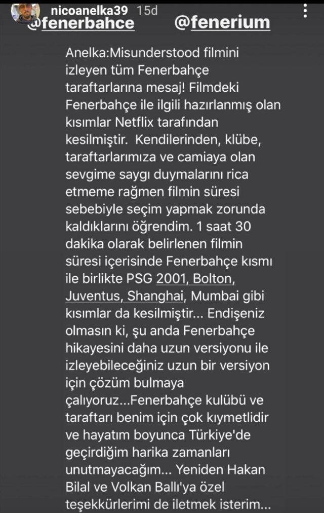 Nicolas Anelka'dan Fenerbahçe taraftarına belgesel açıklaması: Görüntüleri Netflix kesti