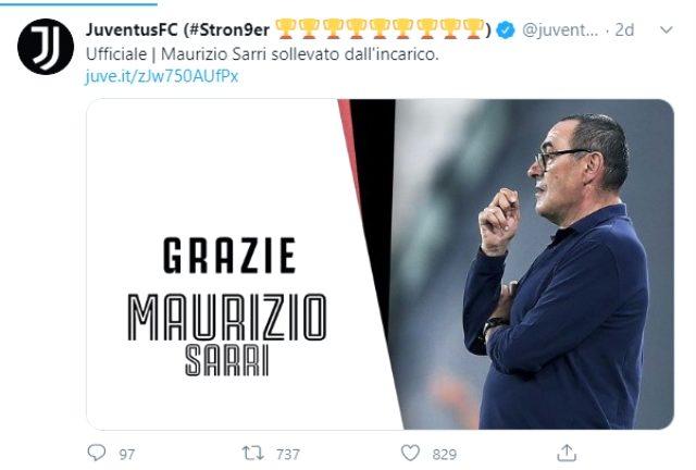 Şampiyonlar Ligi'nde Lyon'a elenen Juventus, teknik direktör Maurizio Sarri'yi kovdu