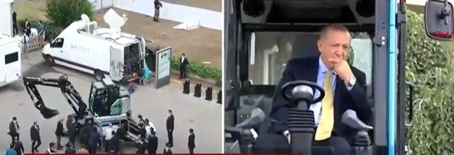 Cumhurbaşkanı Erdoğan, yerli üretim olan dünyanın ilk lastikli ve elektrikli ekskavatörünü test etti