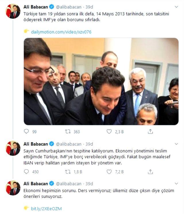 Ali Babacan, IMF üzerinden kendisini eleştiren Cumhurbaşkanı Erdoğan'a yanıt verdi
