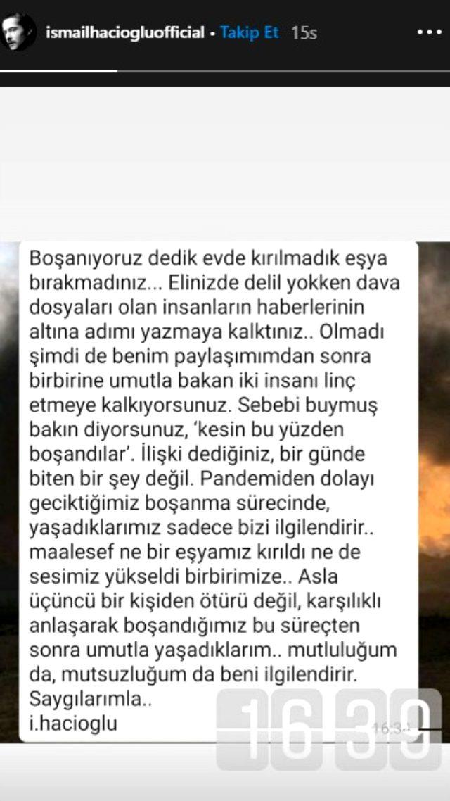 Boşandıktan 20 gün sonra eski rol arkadaşıyla sevgili olan İsmail Hacıoğlu, eleştirilere cevap verdi