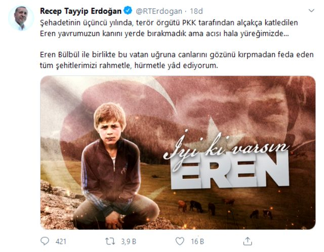 Cumhurbaşkanı Erdoğan'dan şehit Eren Bülbül mesajı: Acısı hala yüreğimizde