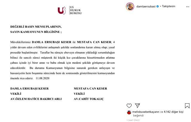 Oyuncu Damla Ersubaşı, 4 yıllık eşinden tek celsede boşanma kararı aldı