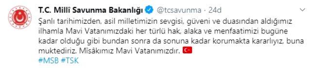 Türkiye'den Doğu Akdeniz'deki Yunanistan-Mısır işbirliğine bir tepki daha: Misakımız Mavi Vatanımızdır