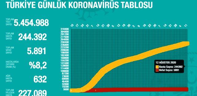 12 Ağustos Çarşamba koronavirüs tablosu Türkiye! Koronavirüsten dolayı kaç kişi öldü? Bugün koronavirüs vaka, iyileşen, ağır hasta sayısı son durumu n
