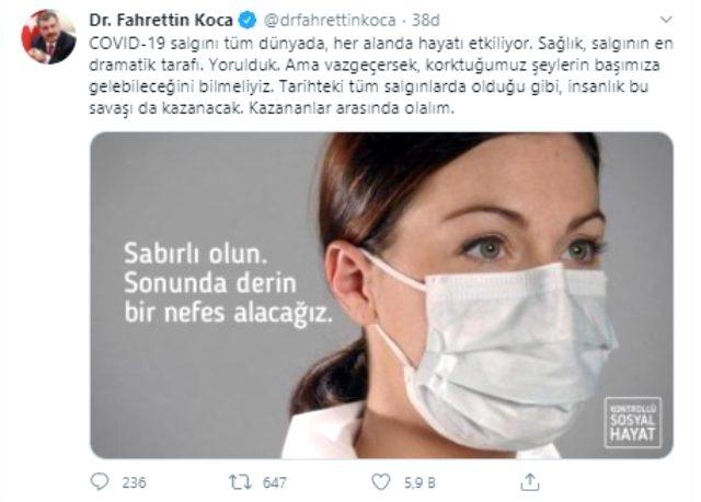 Bakan Koca, koronavirüs hastasının mesajını 'Bayram dönüşü korkusu' uyarısıyla paylaştı