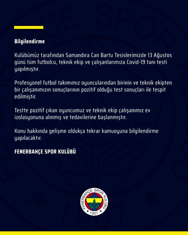 Son Dakika: Fenerbahçe'de bir futbolcunun koronavirüs testi pozitif çıktı
