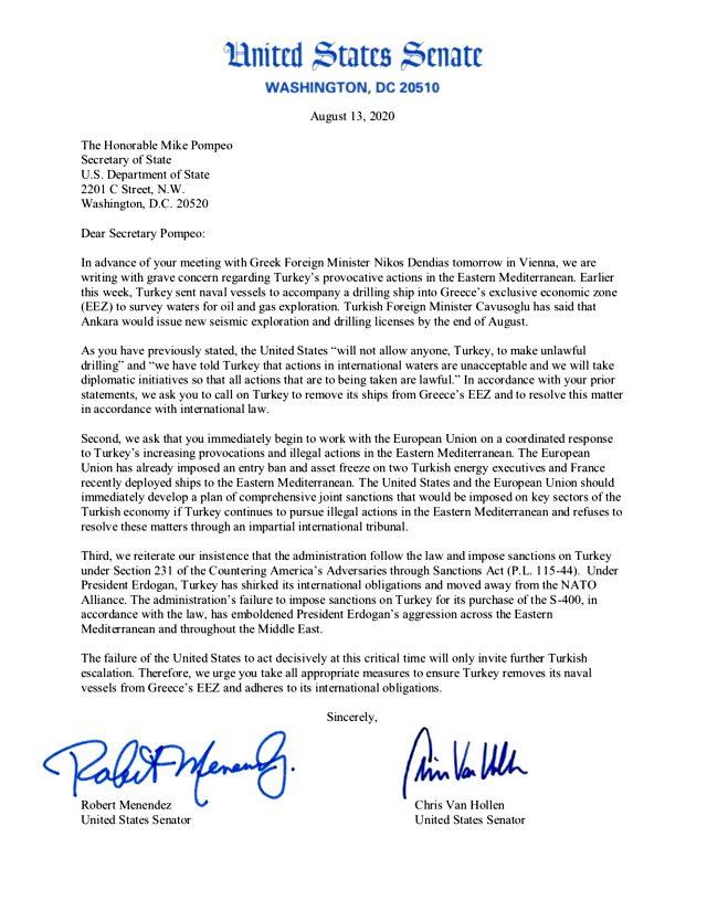 ABD'li iki senatör, Dışişleri Bakanı Pompeo'dan Türkiye'ye Yunanistan için yaptırım istedi