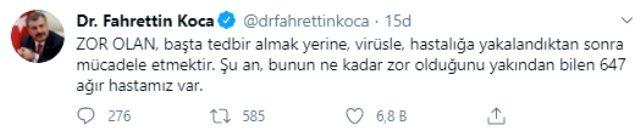 Bakan Koca, yarım saat arayla yaptığı iki paylaşımda vatandaşları koronavirüse karşı uyardı