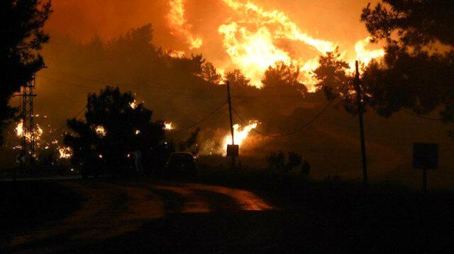 Çeşme'de otluk alanda çıkan yangın rüzgarın etkisiyle yayıldı! Ekiplerin müdahalesi sürüyor