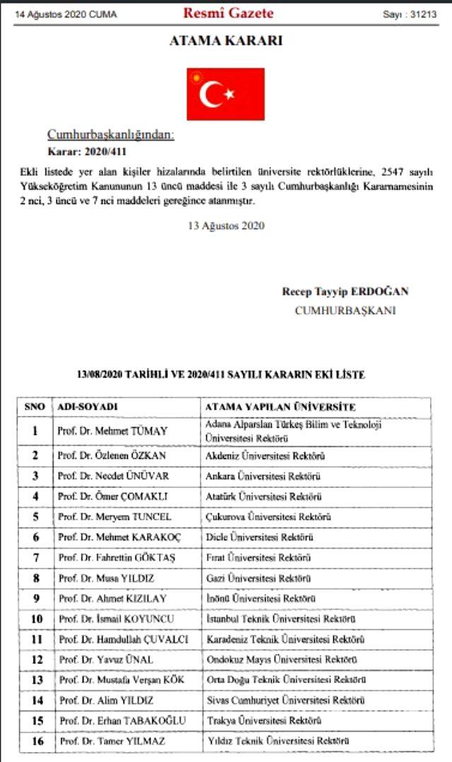 Cumhurbaşkanı Erdoğan, 16 üniversiteye rektör atadı