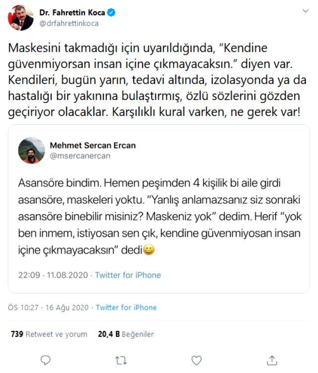 Sağlık Bakanı Koca, maske takmayanları uyardı