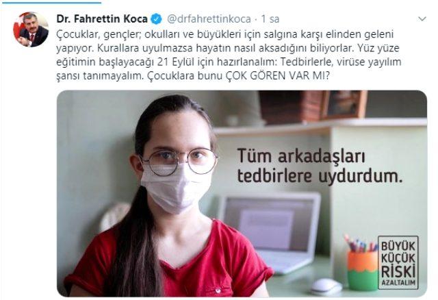 Fahrettin Koca, 21 Eylül'ü işaret edip mesajı verdi: Çocuklara bunu çok gören var mı?