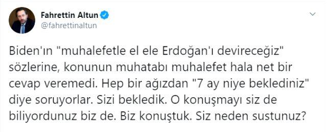 Son Dakika: İletişim Başkanı Altun'dan muhalefete Biden tepkisi: Sizi bekledik