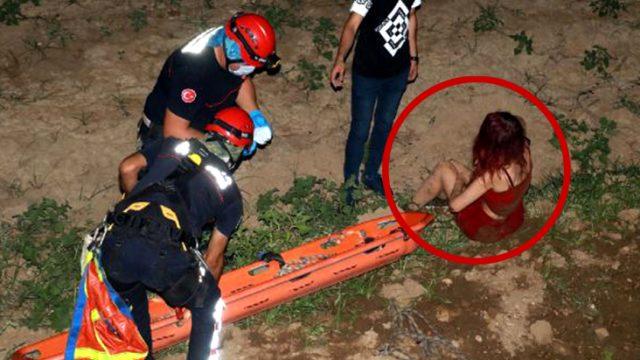 Alkolü fazla kaçıran genç kız, düştüğü dere yatağından çıkarılmaya bir saatte ikna edildi