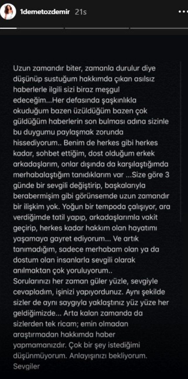Adı birçok ünlü isimle anılan Demet Özdemir'den Murat Boz'la aşk yaşadığı iddiasına cevap