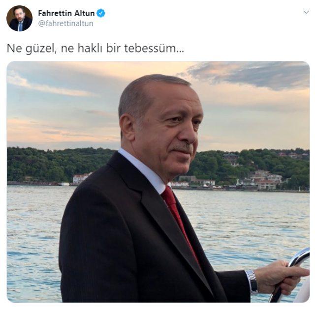 Fahrettin Altun'un paylaştığı Erdoğan fotoğrafında kadrajda görünmeyen kısımda Fatih Sondaj gemisi var
