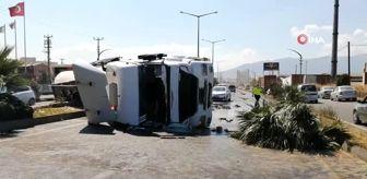 Turgutlu: Turgutlu'da kimyasal madde yüklü tanker devrildi: 1 yaralı