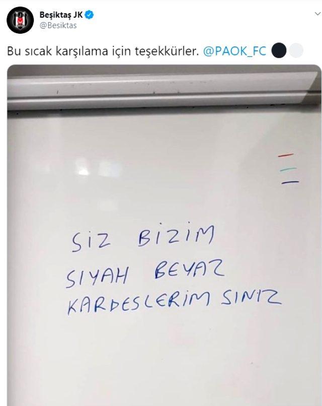 PAOK'tan Beşiktaş'a maç öncesi sıcak karşılama: Kardeşlerimsiniz