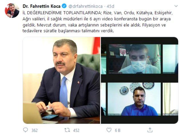 Bakan Koca, vakaların 1500'ü aştığı gün 6 ilin valisi ve sağlık müdürleriyle görüştü: Talimatı verdik