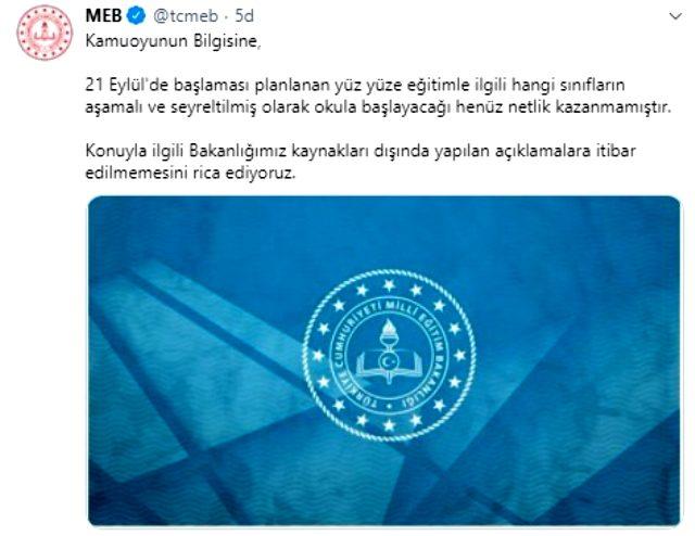Son Dakika: Milli Eğitim Bakanlığı, Habertürk televizyonunun yüz yüze eğitimle ilgili genelgesini yalanladı