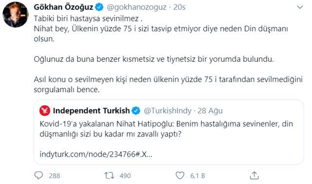 Koronavirüse yakalanan Nihat Hatipoğlu kendisine sevinenlere 'din düşmanı' dedi! Gökhan Özoğuz'dan tepki gecikmedi