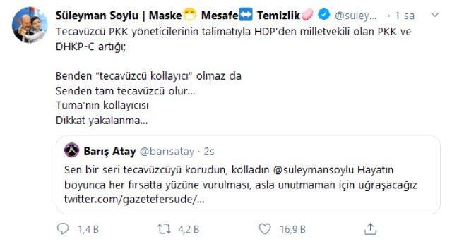 İçişleri Bakanı Soylu'dan Barış Atay'a jet yanıt: Benden 'tecavüzcü kollayıcı' olmaz da Senden tam tecavüzcü olur