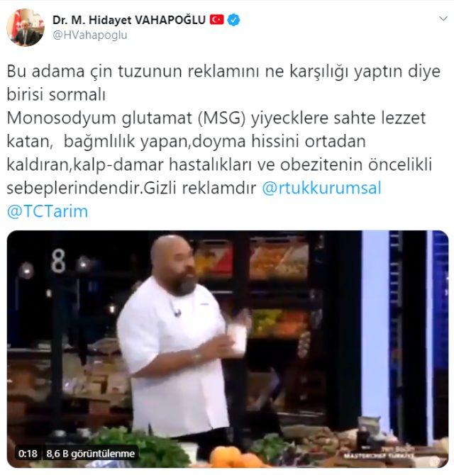 MHP Genel Başkan Yardımcısı Vahapoğlu, MasterChef'in ünlü şefi Somer Sivrioğlu'na tepki gösterdi