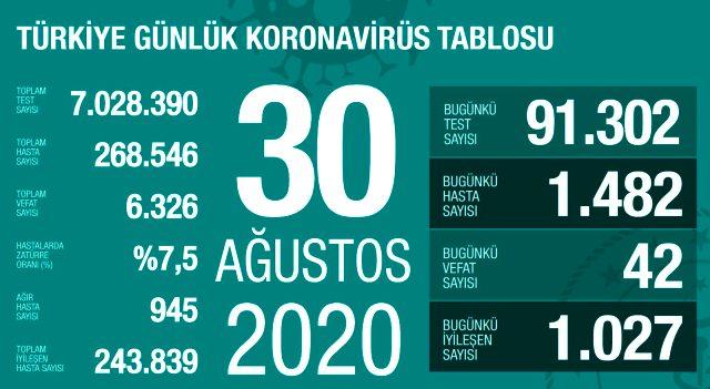 Son Dakika: Türkiye'de 30 Ağustos günü koronavirüs kaynaklı 42 can kaybı, 1482 yeni vaka tespit edildi