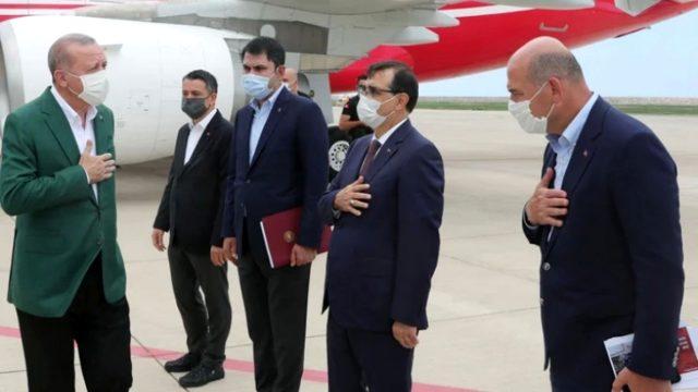 Cumhurbaşkanı Erdoğan, Giresun'da sel felaketini yaşayan bölgeyi havadan inceledi