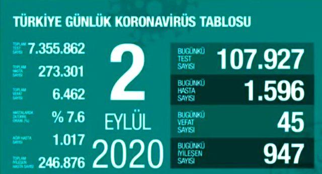 Son Dakika: Türkiye'de 2 Eylül günü koronavirüs nedeniyle 45 kişi hayatını kaybetti, 1596 yeni vaka tespit edildi