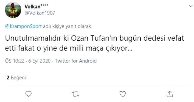 Ozan Tufan, dedesi vefat etmesine karşın Sırbistan maçında sahaya çıkarak takdir topladı