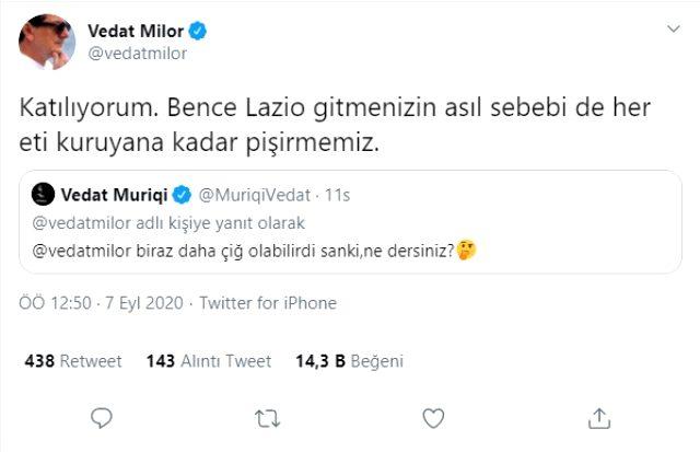 Et diyaloğu sonrası Vedat Milor'un Vedat Muriqi'e Lazio göndermesi yapması, sosyal medyayı salladı