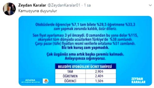 Adana Büyükşehir Belediye Başkanı Zeydan Karalar, ulaşım zammını açıklayarak özür diledi