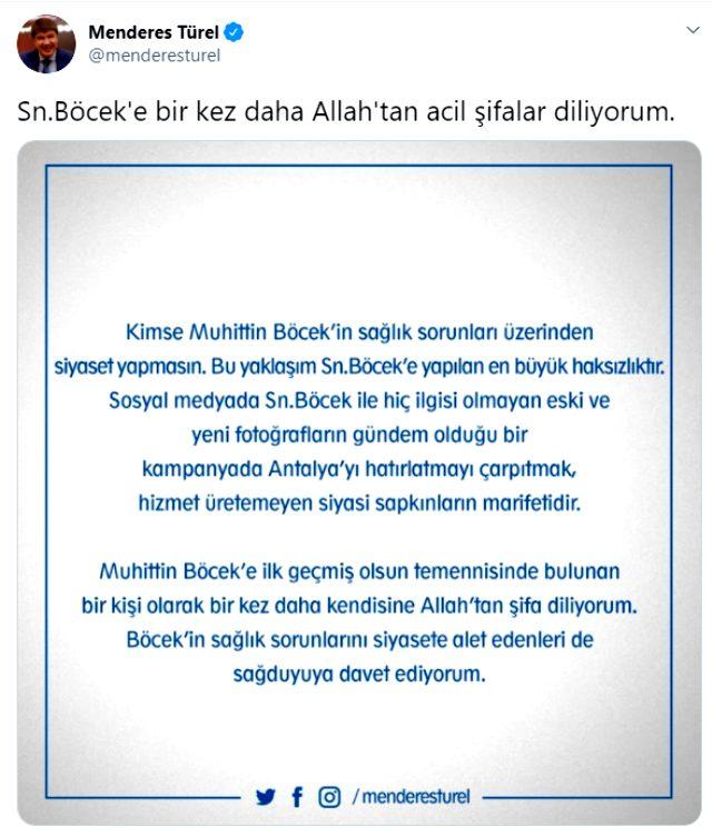 Eski Antalya Büyükşehir Belediye Başkanı Menderes Türel'in halefi yoğun bakımdayken yaptığı paylaşım tepki çekti