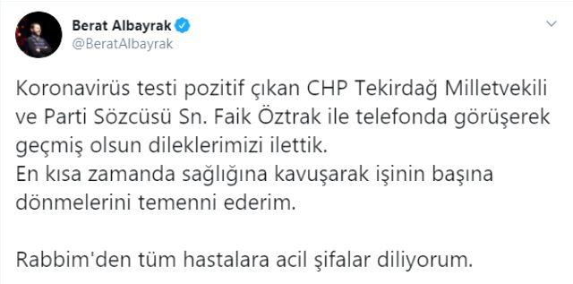 Hazine ve Maliye Bakanı Albayrak, Faik Öztrak'a koronavirüs için geçmiş olsun dileklerini iletti