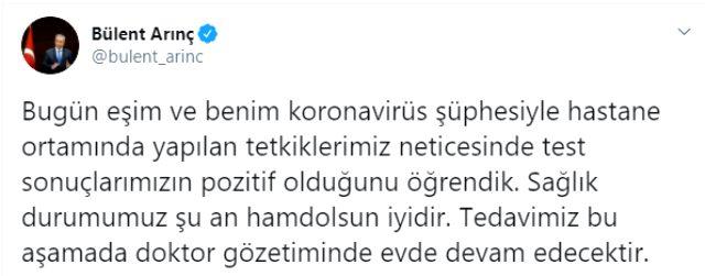 Son Dakika: Eski TBMM Başkanı Bülent Arınç, koronavirüse yakalandı