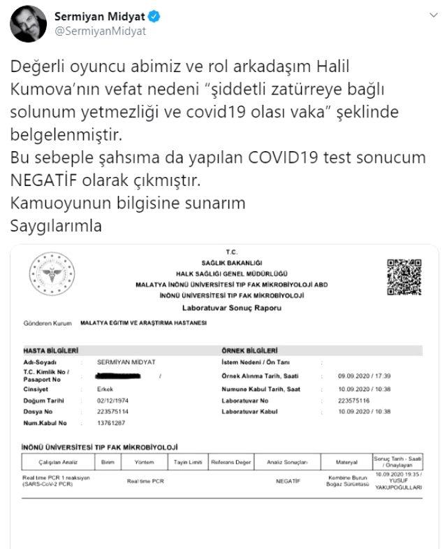 Hayatını kaybeden oyuncu Halil Kumova'nın Covid-19 testi pozitif çıktı