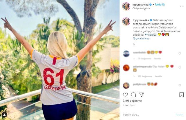 Yeni sezon öncesi Rus güzel Lopyreva, Galatasaray'a destek verdi: Kalbim seninle