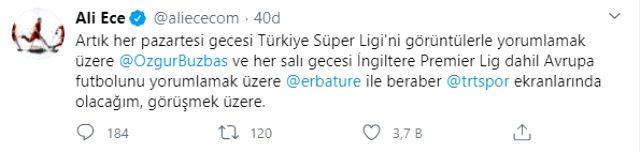 NTV ile yollarını ayıran Ali Ece, TRT Spor'a transfer olduğunu duyurdu