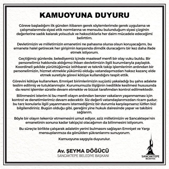 Sancaktepe Belediyesi'nde vatandaşı haraca bağlayan personel suçüstü yakalandı