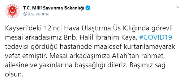 Son Dakika: Kayseri'de Binbaşı Halil İbrahim Kaya koronavirüs nedeniyle hayatını kaybetti