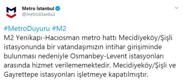 Son Dakika: İstanbul'da metroda intihar girişimi: Mecidiyeköy ve Osmanbey istasyonları kapatıldı