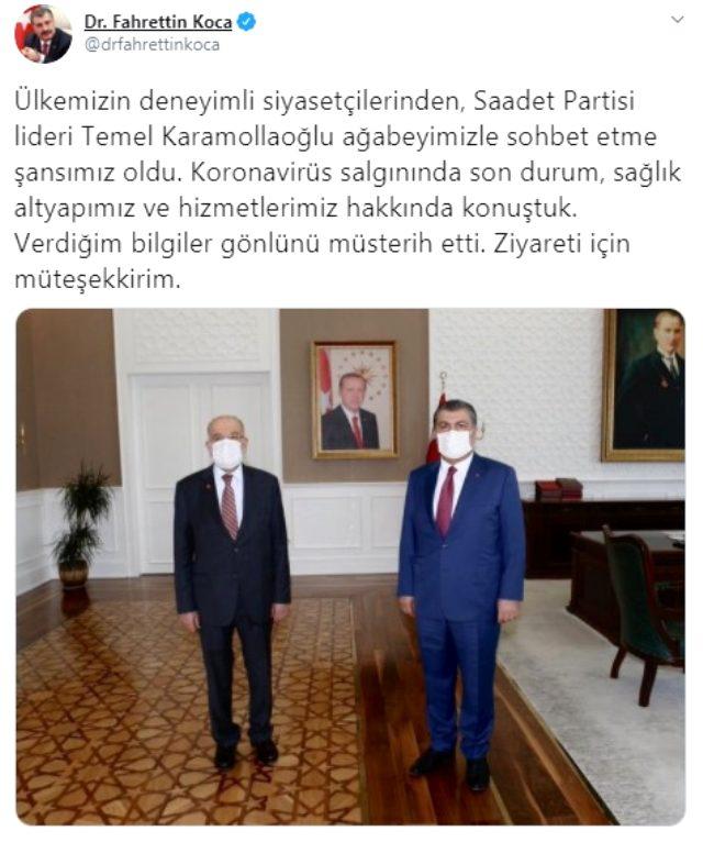 Bakan Koca, Saadet Partisi Genel Başkanı Karamollaoğlu ile bir araya geldi