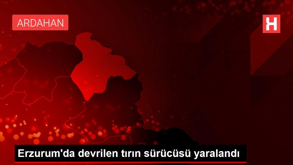 Erzurum'da devrilen tırın sürücüsü yaralandı