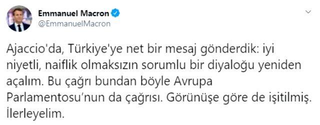 Son Dakika: Macron Türkçe tweet atıp Türkiye'yi açık mesaj gönderdi
