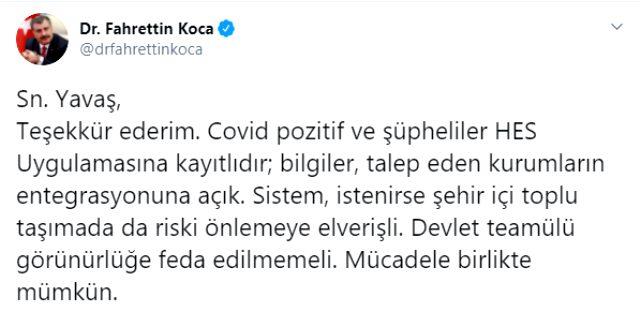 Sağlık Bakanı Fahrettin Koca, Mansur Yavaş'ın teklifine teşekkür etti