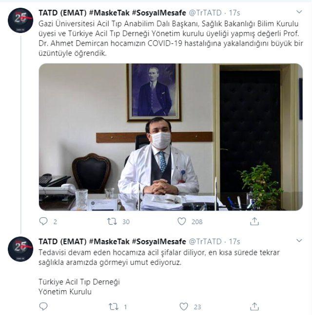 Bilim Kurulu Üyesi Prof. Dr. Ahmet Demircan koronavirüse yakalandı