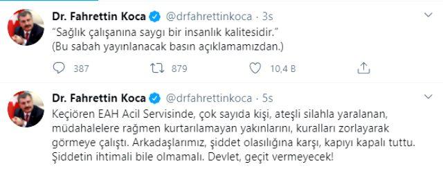 Bakan Koca'dan Ankara Keçiören'de sağlık çalışanlarına saldırıya tepki: Devlet geçit vermeyecek